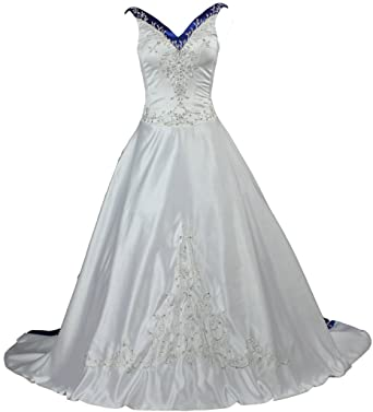 ANTS Womens V Neck Blue Satin Embroidery Wedding Dress for Bride Size 2 US Ivory