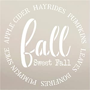 Fall Sweet Fall Pumpkin Apple Cider Round Stencil by StudioR12 | for Painting Wood Sign | Furniture Totes Fabric | Fall Decorating Walls Mantles | DIY Home Decor - Choose (9