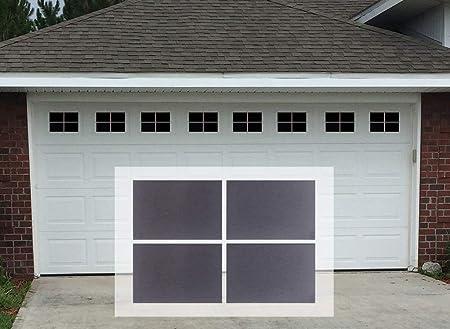 Magnetic Garage Door WindowsDecorative Black Window Decals for Two Car Garage
