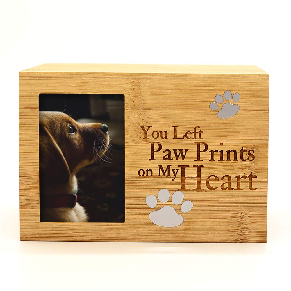 ENBOVE Pet Urns,Photo Frame Funeral Cremation Urns,Ash Urns for Dogs, Small Animal Urn,Burly Wood Keepsake Memorial Urns(6.3 X 4.3 X 4.3 ) by ENBOVE
