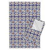 Roostery Bingo Tea Towels Bingo Cards 6On by Dd Baz Set of 2 Linen Cotton Tea Towels