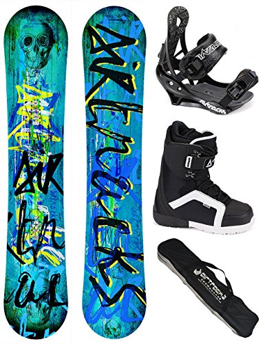 AIRTRACKS SNOWBOARD SET - WIDE BOARD SKULL WIDE 158 - SOFTBINDUNG SAVAGE - SOFTBOOTS SAVAGE QL 46 - SB BAG