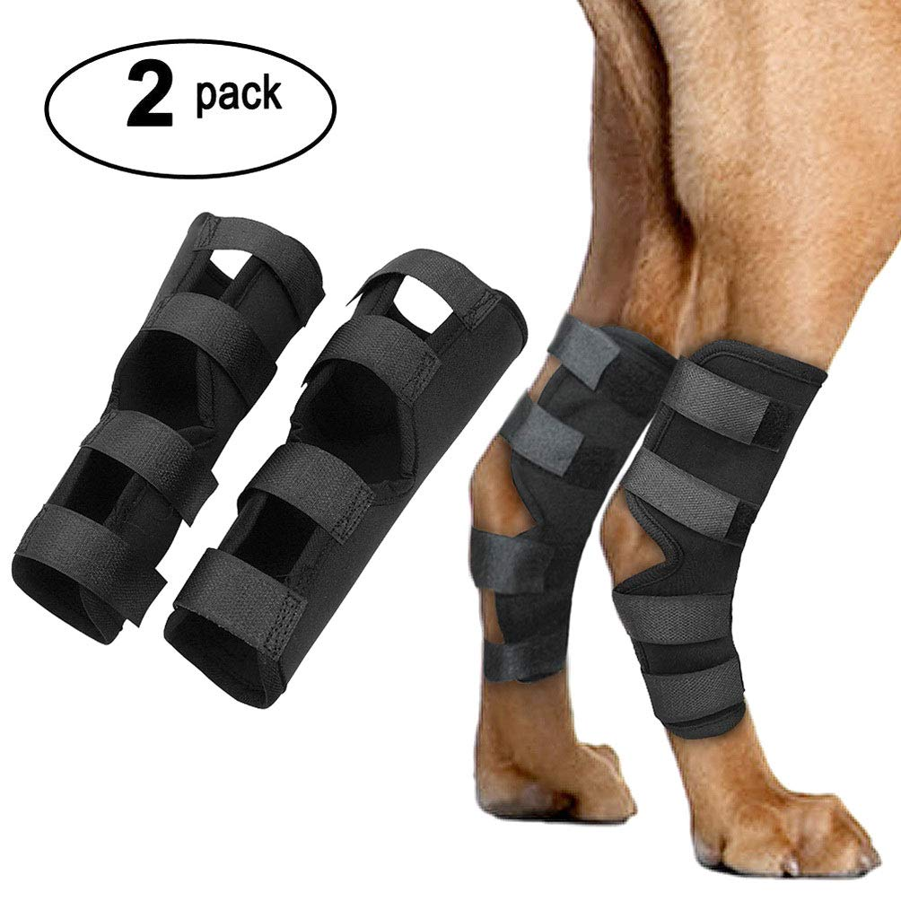 SELMAI Canine Dog Rear Leg Brace Extra Supportive Hock Joint Wrap Compression Support Brace Protect Wounds Heals Prevents Injuries and Sprains Arthritis (1 Pair) Black Size L