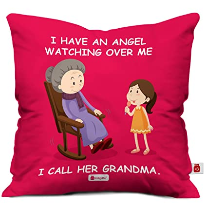 Buy Indigifts Grandparents Special Angel Grandma Red Cushion Cover 12x12 Inch With Filler
