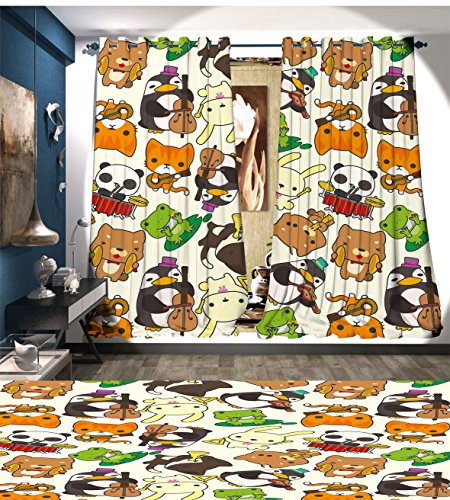 Nursery Patterned Drape For Glass Door Cartoon Style Animal Music Band Penguin on Cello Cat on Guitar Panda on Drums Print Waterproof Window Curtain Multicolor - Animal Patterned Bands
