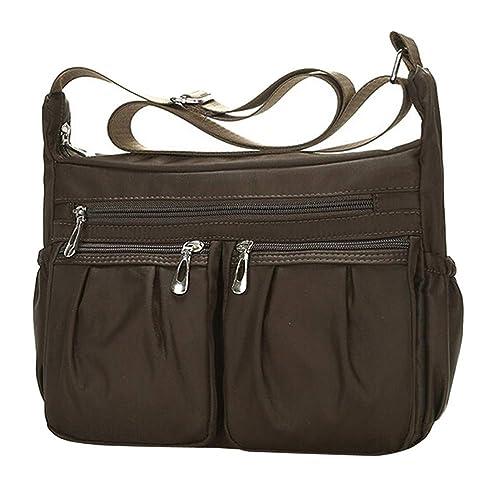 958f2c6cbbb81 SoonerQuicker Damenmode einfarbig reißverschluss wasserdichte nylon  umhängetasche crossbody tasche diagonal paket (caffee)  Amazon.de  Schuhe    Handtaschen