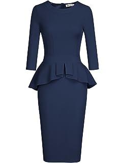 115cb0279b3 CICIDES Womens Tie Neck Peplum Waist Long Sleeve Bodycon Business ...