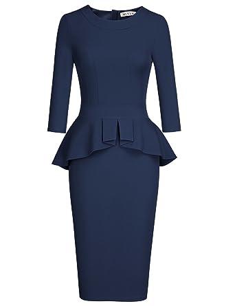 3b7d2eb18e3 MUXXN Women s Flattering Half Sleeves Pleated Waist Package Hip Casual Dress  (Blue ...