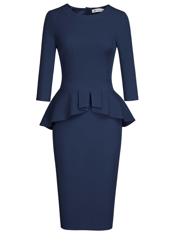 MUXXN Women's Pure Boat Neck 3/4 Sleeve Peplum Tea Length Juniors Prom Dress (Blue XXL)