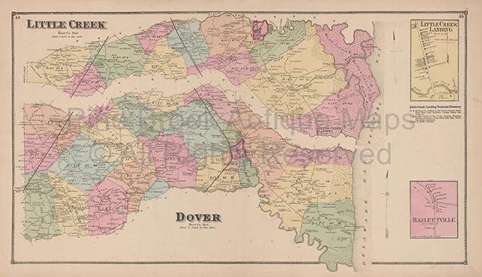 Amazon.com: Little Creek Dover Delaware Antique Map Beers 1868 ...