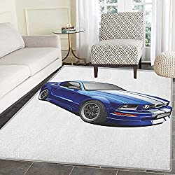 Teen Room Area Rug Carpet American Auto Racing Theme Car Sports Competition Speed Winner Boys Kids Graphic Living Dining Room Bedroom Hallway Office Carpet 5'x6' Blue Grey