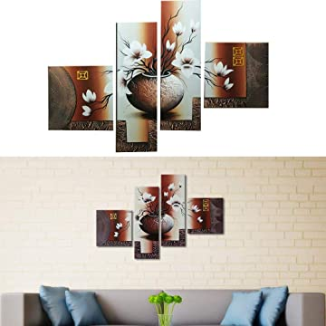 Edited 4 Panels Floral Oil Painting Frameless Canvas Wall Art Modern Home Decor Paintings