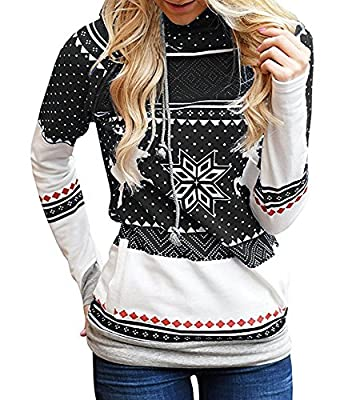 Shele Womens Long Sleeve Patterns Of Reindeer Snowman Christmas Sweatshirt Hoodie(S-2XL)