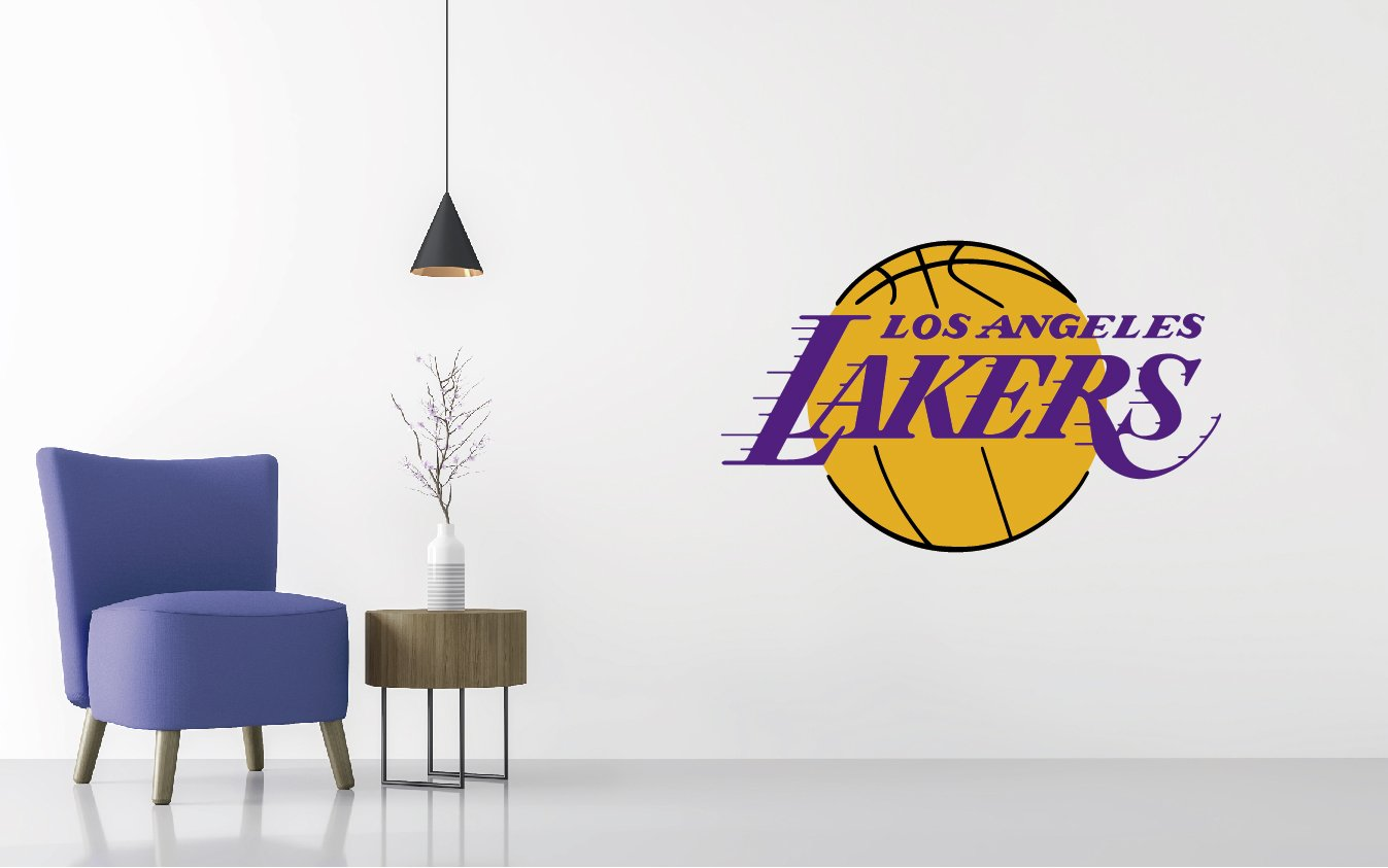 """Basketball Team Logo - Wall Decal Removable & Reusable For Home Bedroom (Wide 20""""x12"""" Height)"""