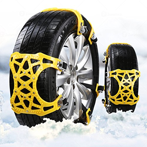 Zone Tech Car Snow Chains - Premium Quality Strong Durable All Season Anti-Skid Car, SUV, and Pick Up Patterned Tire Chains for Emergencies and Road Trip Pack Of 6