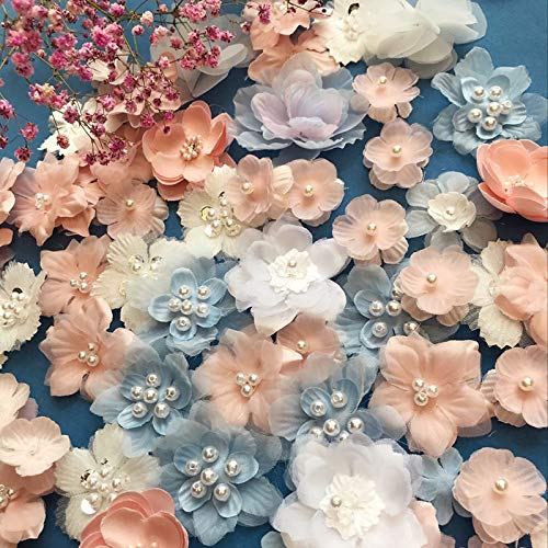 Jimess Handmade 3D Lace Sewing Patches Beading Flowers Appliques for DIY Dolls Clothing Dress Decoration (18Pcs)