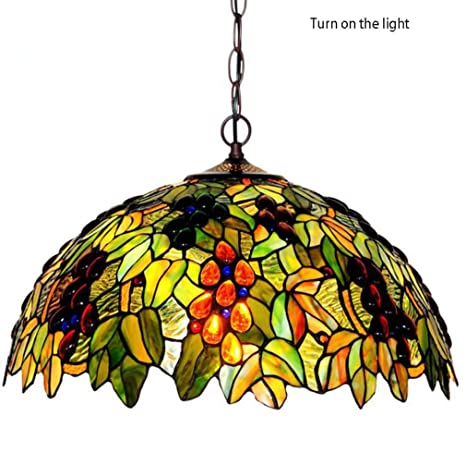 Tiffany Style Pendant Light 18 Inch Stained Glass Grape