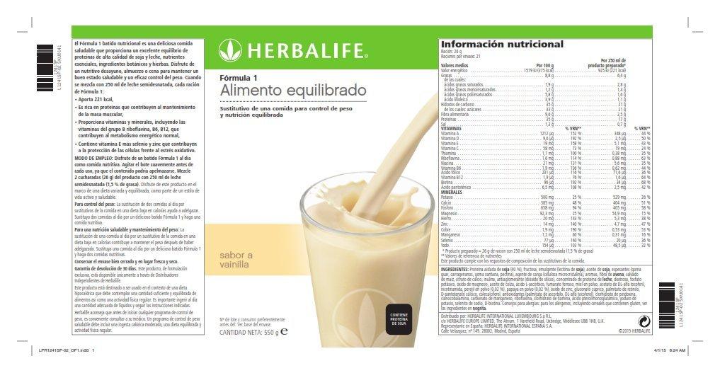 Herbalife Batido Formula 1 Vainilla 550g (Elige Sabor): Amazon.es: Alimentación y bebidas