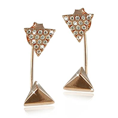 836c6175d Amazon.com: Sterling Silver Rose Gold Plated Cubic Zirconia Pyramid and  Triangle Drop Jacket Stud Earrings: Jewelry