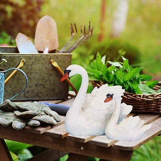 Knowled Estatua Y Escultura Deco Resina Blanca Sala De Estar Jardín Cisne 2 Piezas para Fuente, Hogar, Decoración De Jardín Well-Matched: Amazon.es: Hogar