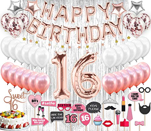 Sweet 16 Party Supplies |16th Birthday Decorations | Rose gold Confetti Balloons | Sweet 16 Cake Topper Rose Gold | Silver Foil Curtain for Photo Booth| Includes Photo Props | Sweet Sixteen Decoration