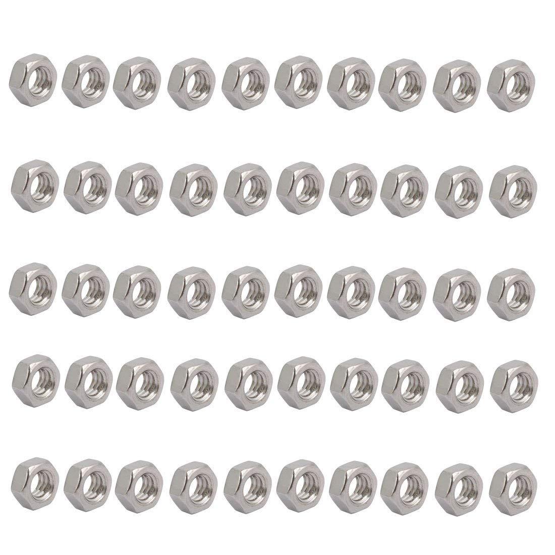 50pcs 1//4-20 UNC Fil acier Inox type 304 fix /écrou hex ton argent