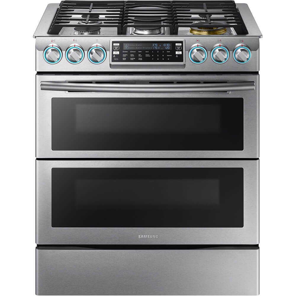 "Samsung Appliance NX58K9850SS 30"" Slide-in Gas Range with Sealed Burner Cooktop, 5.8 cu. ft. Primary Oven Capacity, in Stainless Steel"