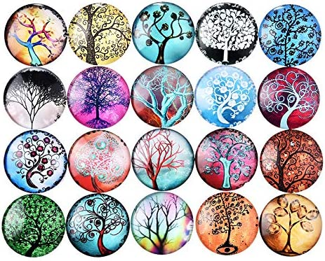 Mixed Color Tree of Life Pattern Glass Half Round Dome Cabochons Crafts Mosaic for Jewelry Making 25mm 30pcs