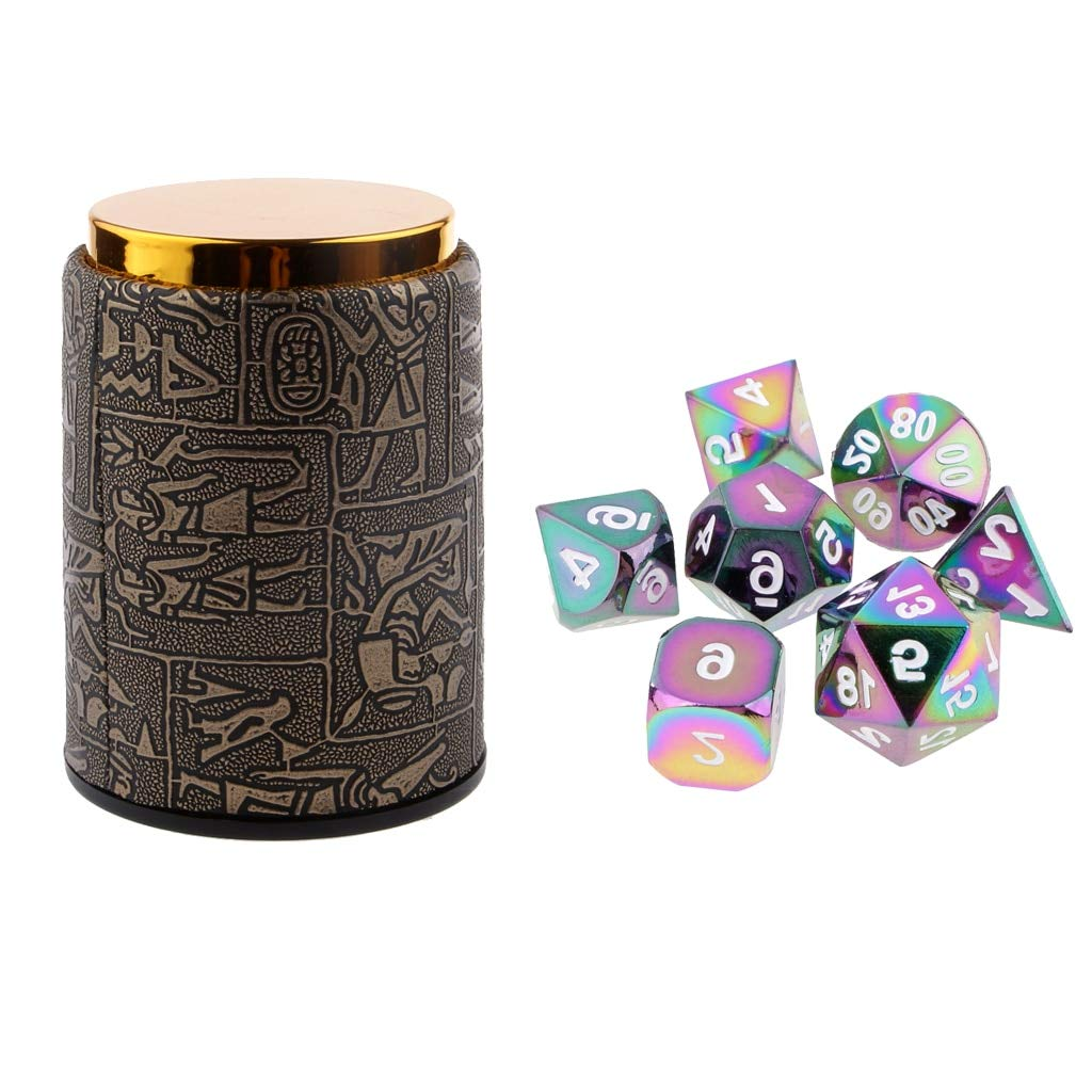 Sala-Fnt - 7X Metal Polyhedral Dice for Dungeons and Dragons Table Games+Dice Cup Camping Hiking Games Birthday Party Supplies
