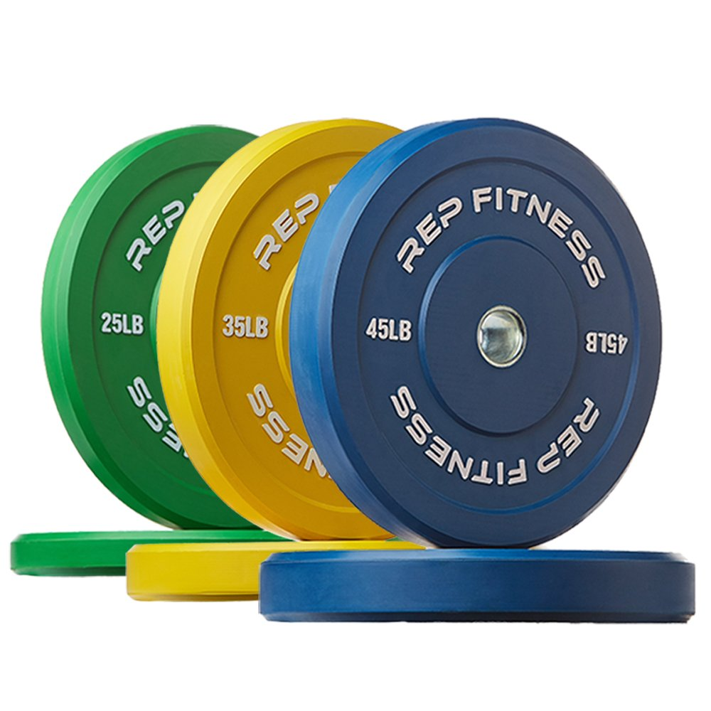 Rep Color Bumper Plates for Strength and Conditioning Workouts and Weightlifting, 210 lb Set
