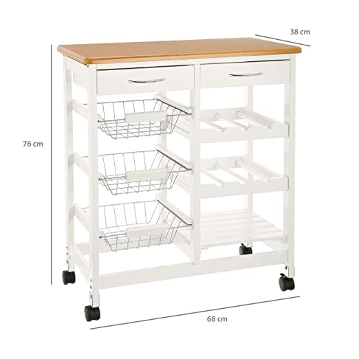 CULINATO® Carrito de cocina, carrito de servir en blanco de madera, 76 x 67 x 37cm (sobre ruedas con encimera y cajones): Amazon.es: Hogar