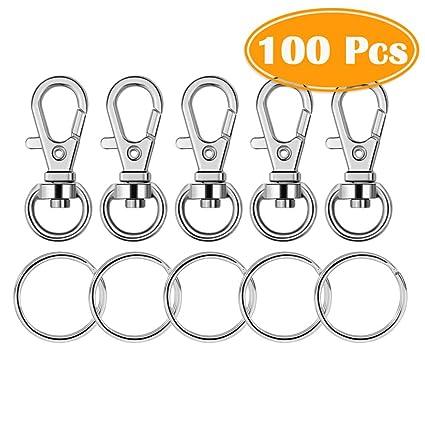 Key Chain Keyring Ring Hook With Clasp 100 Pcs Set Bulk Pack Metal Swivel Snap A