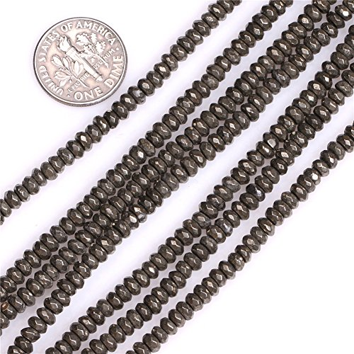 Pyrite Beads for Jewelry Making Natural Gemstone Semi Precious 2x4mm Rondelle Faceted Silver Gray 15