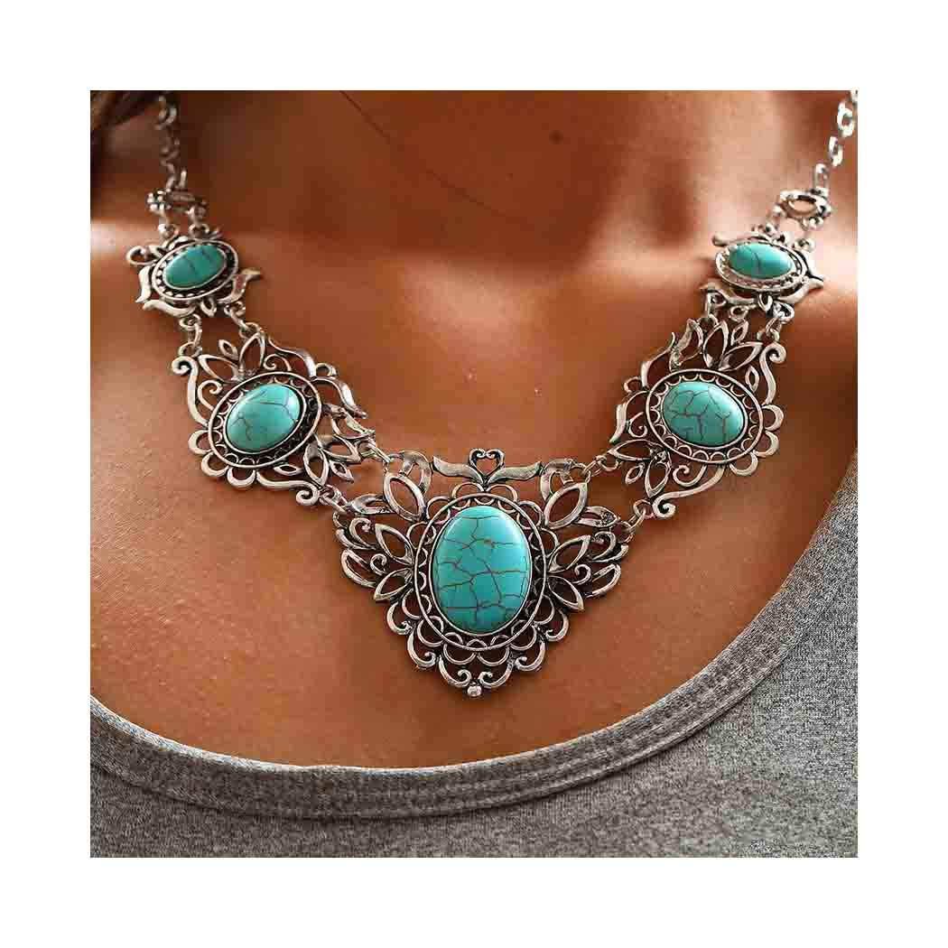 Chicer Bohemian Turquoise Necklace Earrings Set Pendant Carving Chain Jewelry for Women and Girls
