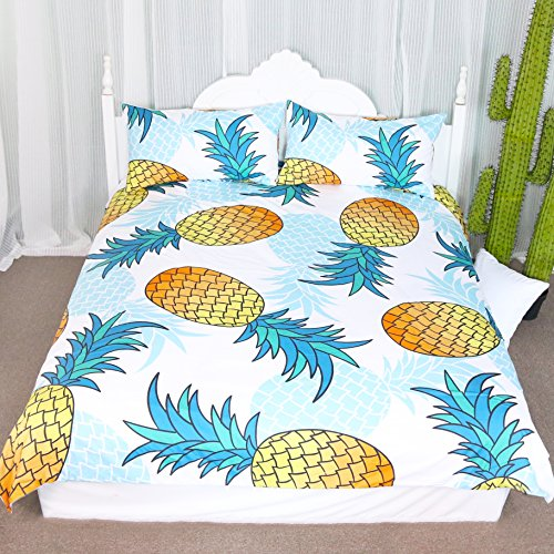 3 Pieces Summer Tropical Pineapples Duvet Cover Set Modern Fun Watercolor Pineapple Design Bedding Set Super Soft Wrinkle Resistant Bedding (Full)