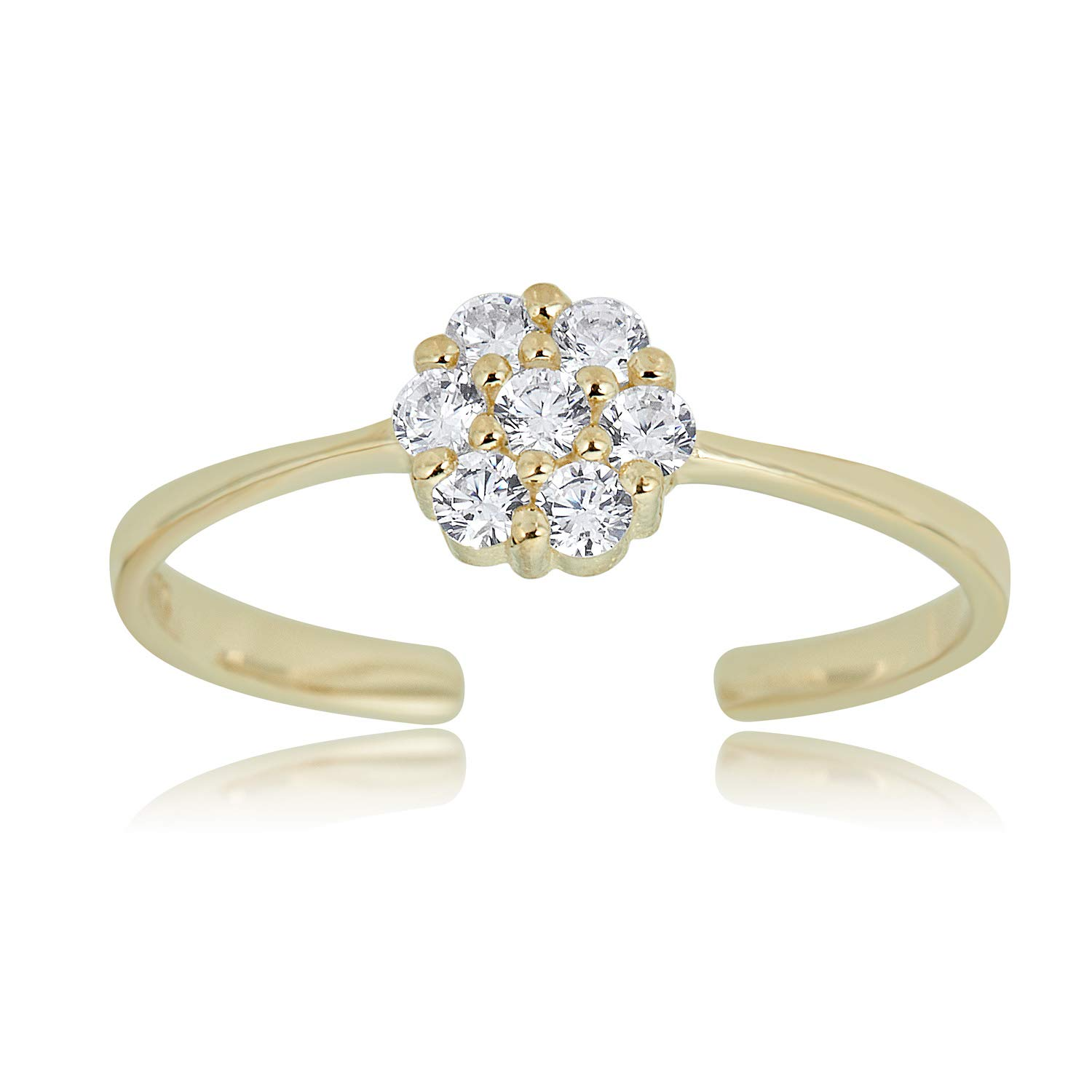 10K Yellow Gold Adjustable Flower Cluster Toe Ring with Simulated Diamond CZ by AVORA