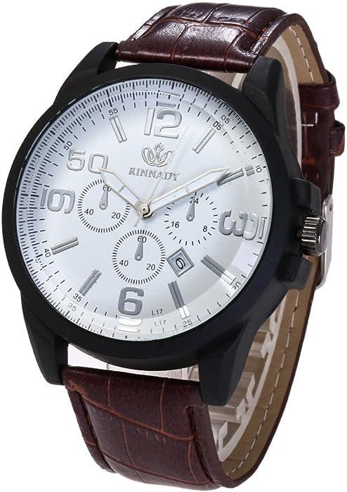 Para hombre relojes de venta aclaramiento Cooki Hombres de moda vestido de reloj de pulsera con banda de cuero Único Casual analógico cuarzo relojes Classic ...