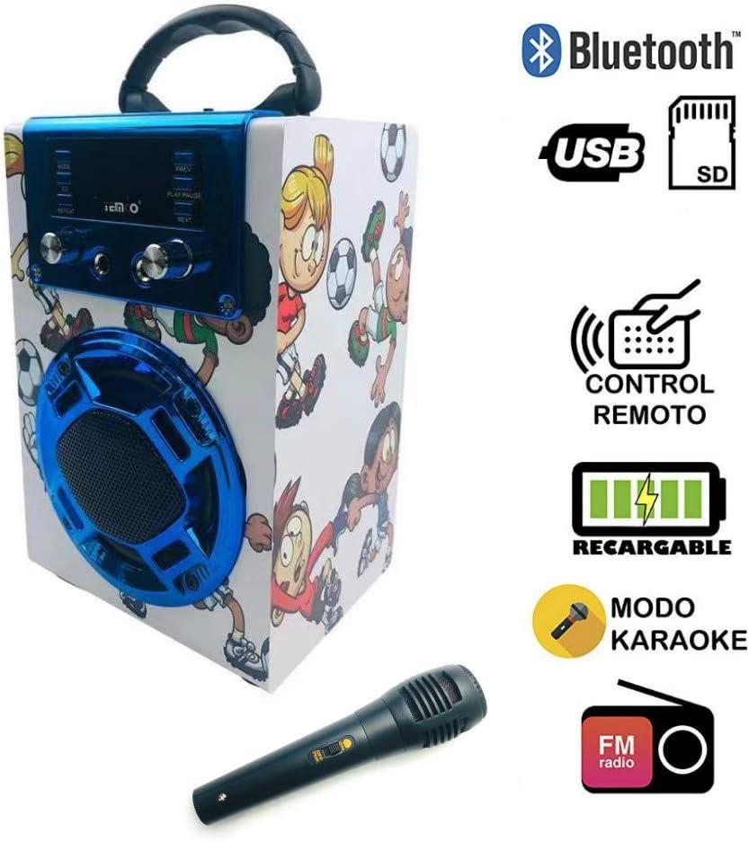 Altavoz Karaoke con Micrófono 25W Reproductor Radio FM MP3 Dos Entrada Mic Inalámbrico Portátil Madera USB SD Card Recargable con Mando (Blanco)