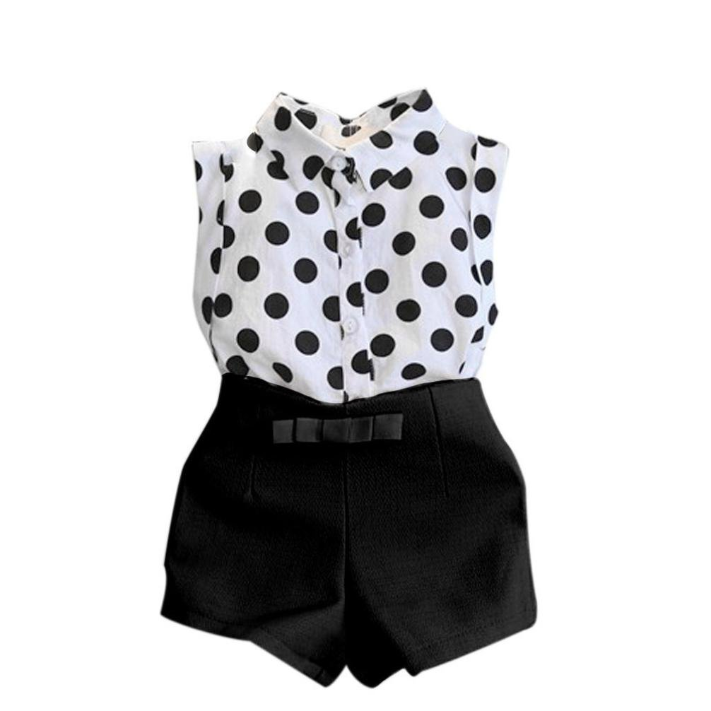 2-3 Jahre alte, Schwarz Shorts Sommeranz/üge Outfits Sets Kind Janly 0-7 Jahre alte M/ädchen Polka Dot T-Shirt Tops