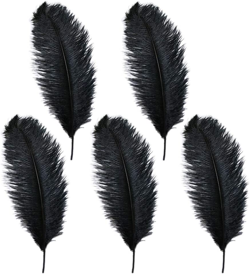 Pack of 5 10-12 inches Ostrich Feather Real Natural Feather for Home Decor Party Wedding Decorations Pink