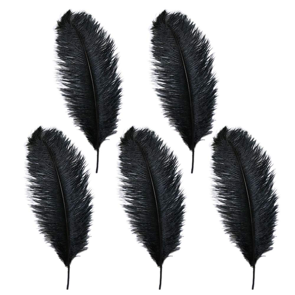 10-12 inches Ostrich Feather Real Natural Feather for Home Decor Party Wedding Decorations, Pack of 5(Black) 6172BiUmVMlL