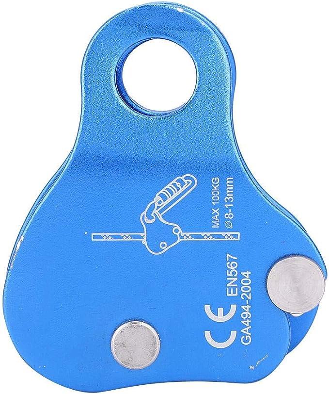 Dioche Freno de Cuerda Escalada, Kits de Protección de Bloqueo de Agarre de Cuerda de Aluminio para Escalada Al Aire Libre, Azul