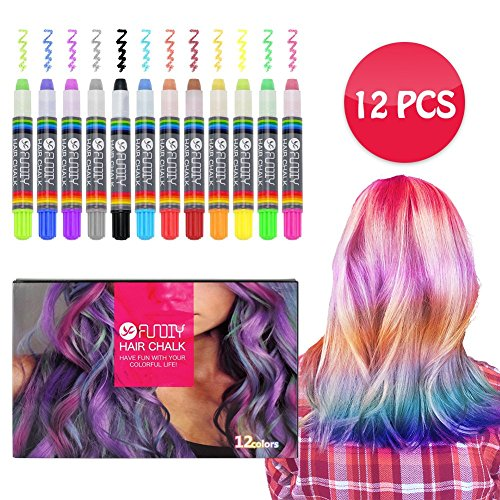 FUNDIY Kids Hair Chalk Set Hair Chalk Pens of 12 Brilliant Colors - Temporary Color Washable and Safe for Children - Good Choice for Party, Halloween, Cosplay, Birthday Gift by FUNDIY