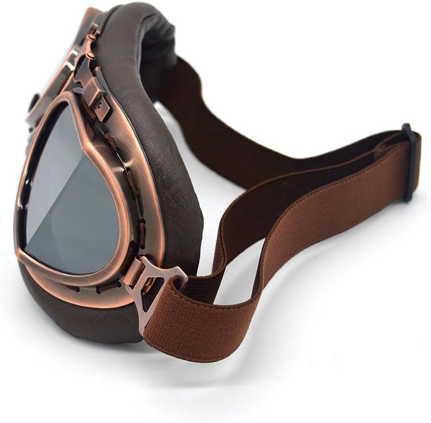 evomosa Motocross-Schutzbrille Copper, Clear Steampunk Vintage Aviator Pilot Stil Motorrad Cruiser Roller Goggle Biker Racer Cruiser Touring Half Helm Brille