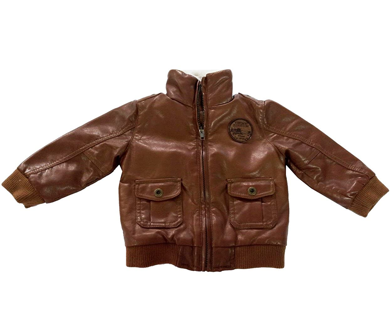 Infant Baby Boys PU Leather Berber Fleece Jacket Coats Outerwear