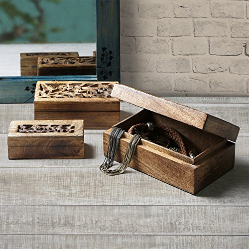 New Year Gifts Decorative Wooden Jewelry Trinket Holder Keepsake Storage Box Set of 3 Multipurpose Organizer with Floral Carved Openworked Lid (Hardwood Box With Lid compare prices)