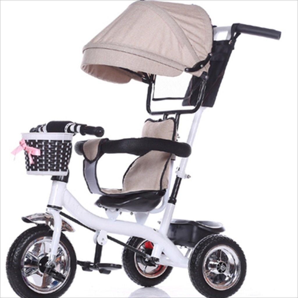 子供の屋内屋外の小型三輪車自転車の男の子の自転車の自転車6ヶ月6歳の古い赤ちゃん三輪トロリー天井、固体プラスチックホイール(ベージュ、白) B07FGG3KQ4