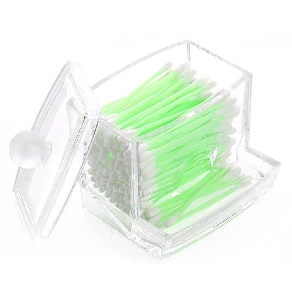 Hosaire Cotton Swab Holder Transparent Small Q-tips Toothpicks Storage Organizer