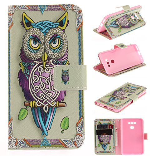 LG G6 Case, LG G6 Wallet Phone Case, Jenny Shop Slim Flip Folio [Kickstand Feature] PU Leather Wallet Case with ID Credit Card Slot for LG G6 (Owl)