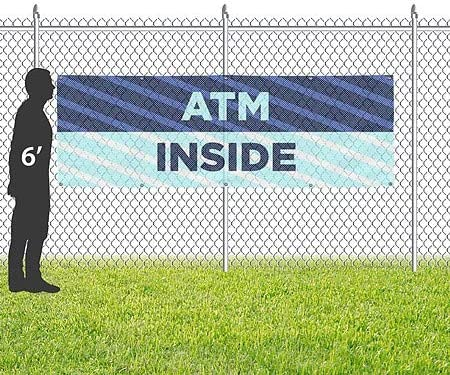 ATM Inside Stripes Blue Wind-Resistant Outdoor Mesh Vinyl Banner 9x3 CGSignLab